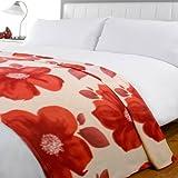 Jeté de lit en polaire Poppy - imprimé fleur - rouge - 120 x 150 cm