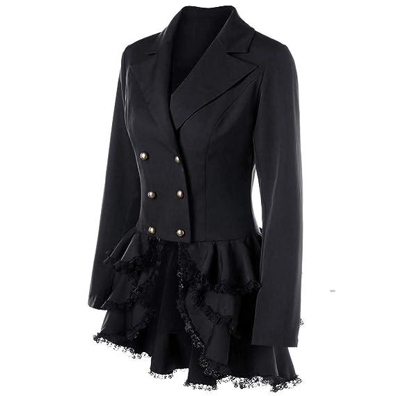 ALIKEEY Damen Winter Parka Langarm Mantel Blazer Anzug Tops Slim Lace Volant  Jacke mit Knöpfen  Amazon.de  Bekleidung 87f00f39fb