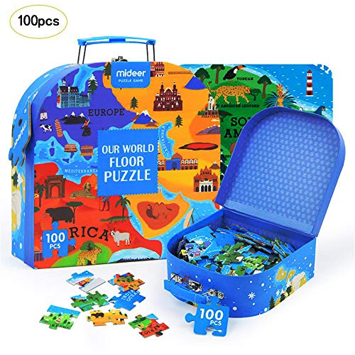 100PCS Educational Puzzles for Kids Our World Floor Puzzle Jigsaw Humanities Geography Puzzle Portable Gift Box Toy