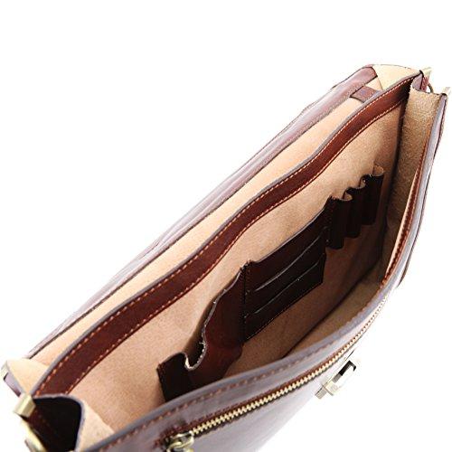 81413404 - TUSCANY LEATHER: SAN GIMIGNANO Porte ordinateur Serviette en cuir avec 2 compartiments, miel