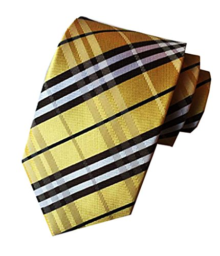 Plaid Silk Necktie (Silk Woven Classic Check Men's Business Tie Necktie Plaid Ties ,Yellow,One Size)