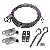 Garage Door Extension Spring Safety Cable Pulley Fork with Safety Cable Guide Set for Ext Springs