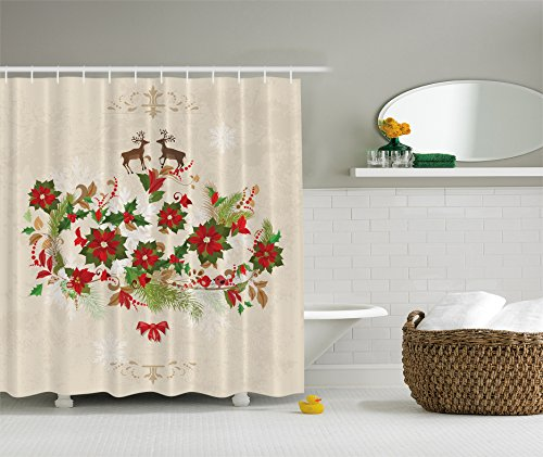 Deer Shower Curtain Decor Flowers Poinsettia Deers Christmas Decor by Ambesonne, Water, Soap, and Mildew Resistant - Machine Washable - Hooks Are Included, Cream Red Green Brown (Poinsettia Deer)