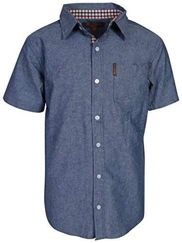 Ben Sherman Boys Short Sleeve Button Down Shirt (Denim Blue, 14/16) Collar Denim Shirt