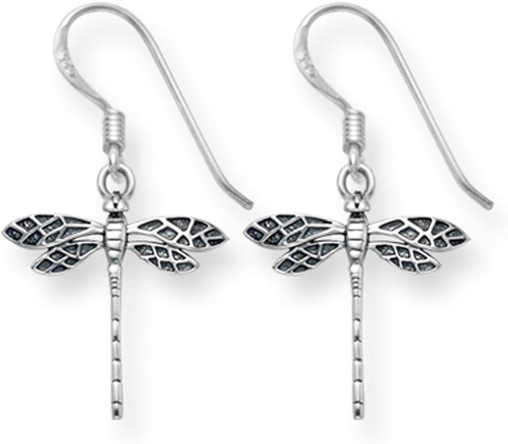 Pendientes libélula plata esterlina - acabado antiguo. Tamaño: 15 mm x 15 mm 6015. Caja de regalo.