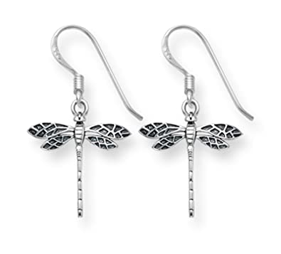 Heather Needham Silver - Sterling Silver Dragonfly earrings - Oxidised finish. Size: 15mm x 15mm Gift Boxed.6015. GCn4WpY