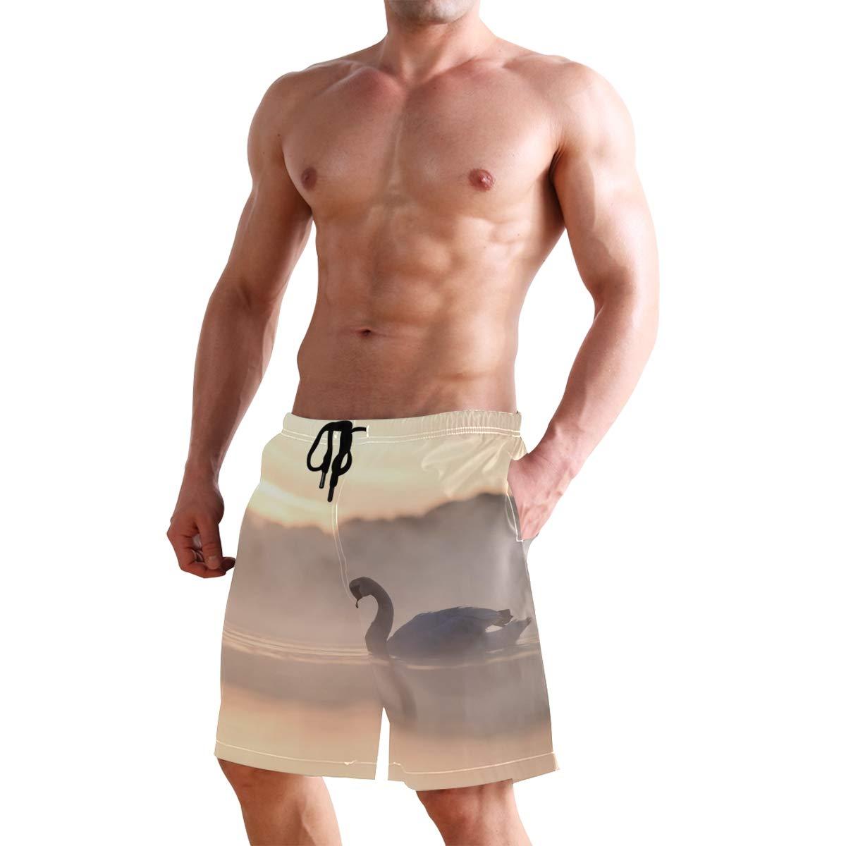 CiCily Men/'s Swim Trunks Swan Beach Board Shorts Swimming Short Pants Running Sports Surffing Shorts