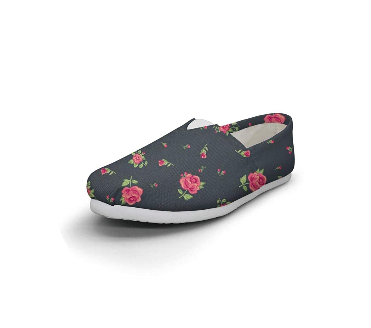 White floral Fairytale Princess Womens Comfort Flat Boat Shoes Ladies Loafer Shoes