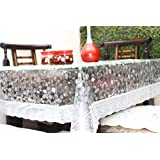 "Live Factory 3D PVC Table Cover with Silver Lace - 4 Seater Center Table, Transparent 60"" X 40"" (Exact size)"