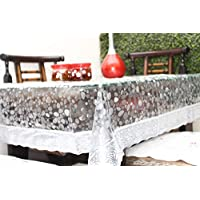 Live Factory 3D PVC Dinning Table Cover with Silver Lace - 6 Seater, Semi Transparent (Silver, 60 X 90)