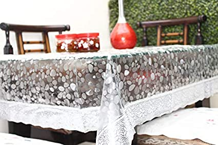 2cbb49a7249b Live Factory 3D PVC Table Cover with Silver Lace - 4 Seater Center Table