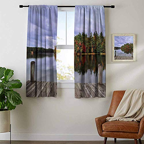 (Lake, Curtains Insulated Thermal, Wooden Dock and Island Ablaze in Fall Splendor Ludington State Park in Michigan USA, Curtains Kitchen Valance, W54 x L39 Inch Multicolor)