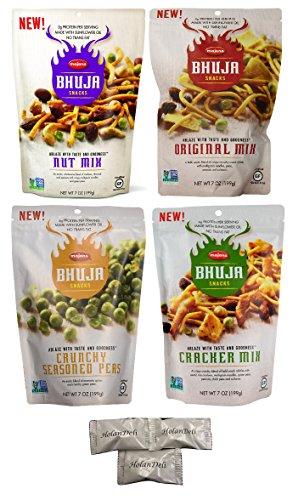 Bhuja Original Mix - BHUJA Snacks Variety Pack ( Original Mix, Nut Mix, Cracker Mix, Crunchy Seasoned Peas ) 7oz. Includes Exclusive HolanDeli Chocolate Mints.