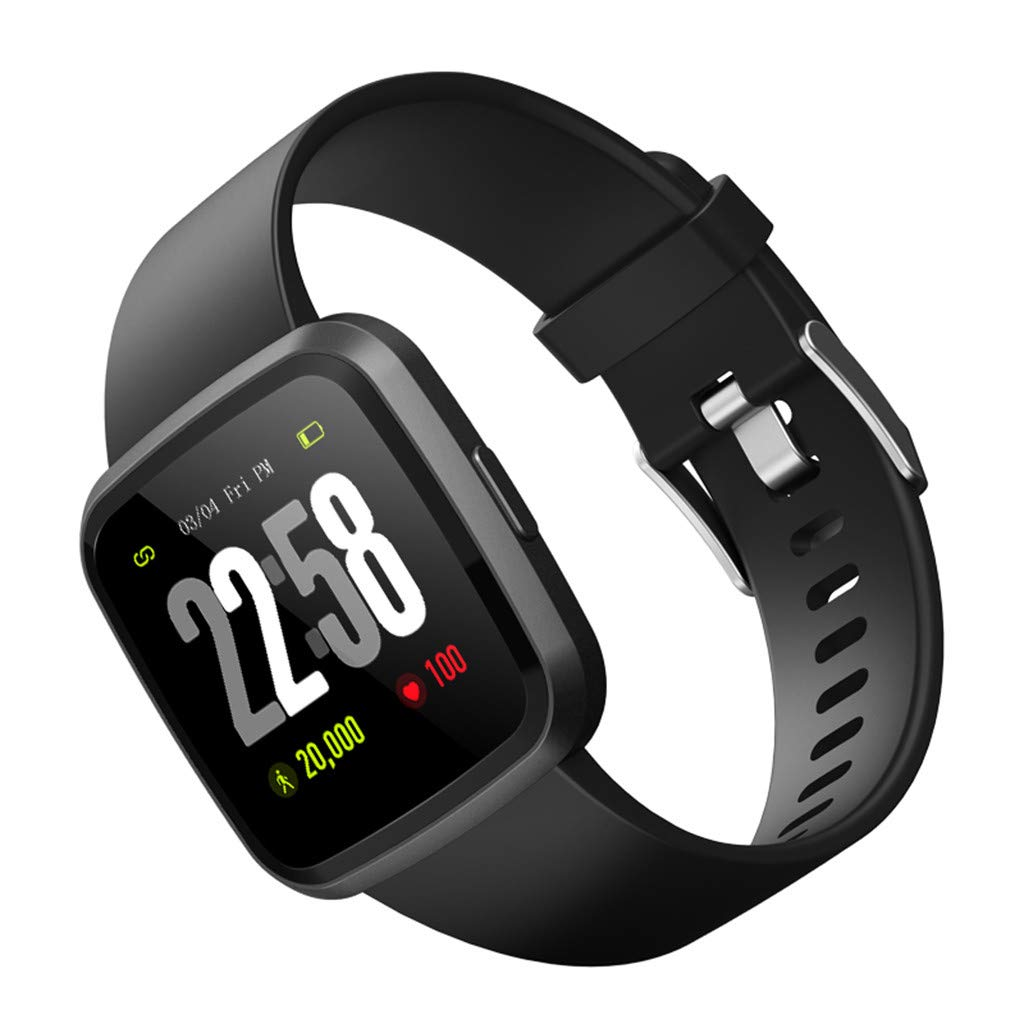 V12C Fitness Tracker, Activity Tracker Watch with Heart Rate Monitor, Smart Fitness Band with Step Counter, Pedometer Watch for Kids Women and Men (Black) by Besde Other (Image #2)