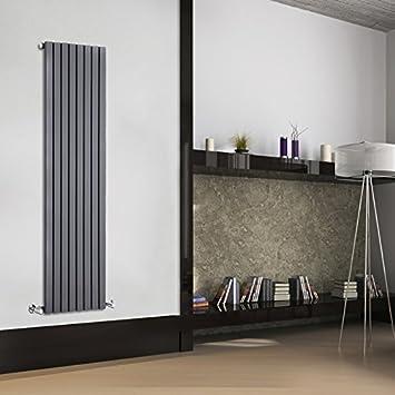 Hudson Reed Sloane Radiador de Diseño Vertical - Antracita - 1600mm x 472mm x 54mm - 1149 Vatios