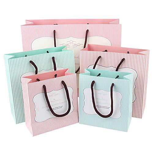 LVSFC 5 Pcs Pink & Blue Stripes Kraft Paper Bags Gift Bag With Handle, Shopping Bag, Retail Bag, Craft Paper Bag…