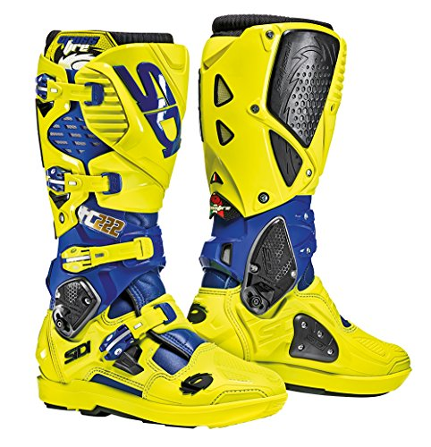 (Sidi Crossfire 3 SRS Cairoli TC222 Yellow Blue Motorcycle Boots)