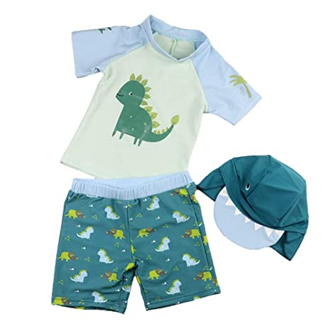 da700a9928 Toddler Boy Swim Shirt 2 Piece, Short Sleeve Dinosaur Rash Guard with Hat  UPF 50+ Sun Protection Swimwear Set 2-3T: Amazon.ca: Luggage & Bags