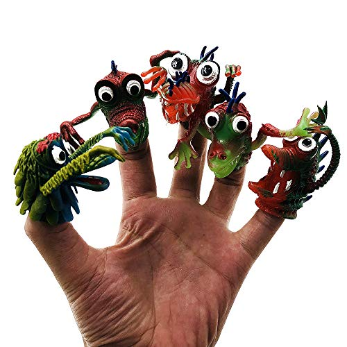 CHAFIN Cool Ghost Finger Puppet Halloween Monster Puppet Play Educational Doll Hand PVC Toy Children Finger Puppets Kid's Gift 5Pcs/Set ()