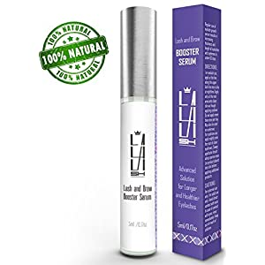 Natural Eyelash Growth Serum - Eyebrow Growth Serum - Made in USA - Lash Booster for Longer, Thicker Natural Eyelashes and Fuller Eyebrows - Enhancing Lash Growth Formula