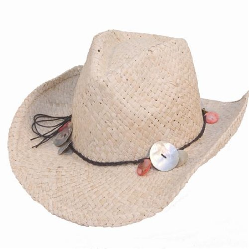 Ladies Straw Shapeable Cowboy Hat With Shell Band One Size