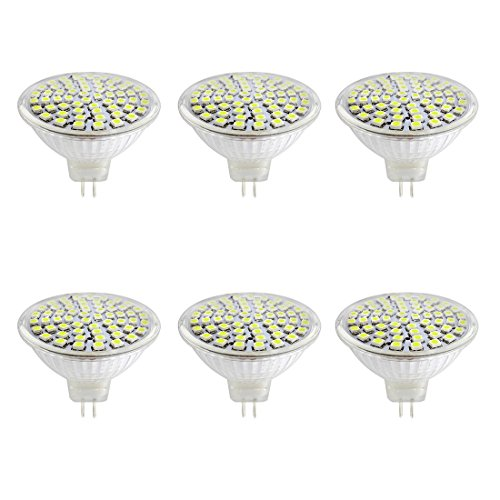 6x LED MR16 Bulbs AC DC12V 5W LED Spotlight 60LEDs SMD2835 400 Lumen Cool White 6000K 50mm Light Glass Cup 180 Degree Beam Angle for Landscape, Accent, Recessed, Track Lighting, Indoor Lighting
