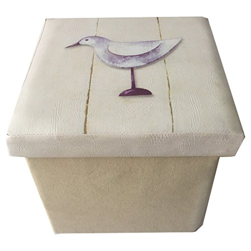 L1 Faux Leather Top Home Folding Storage Ottoman Cube Foot Rest Stool Seat with Ocean Design Review