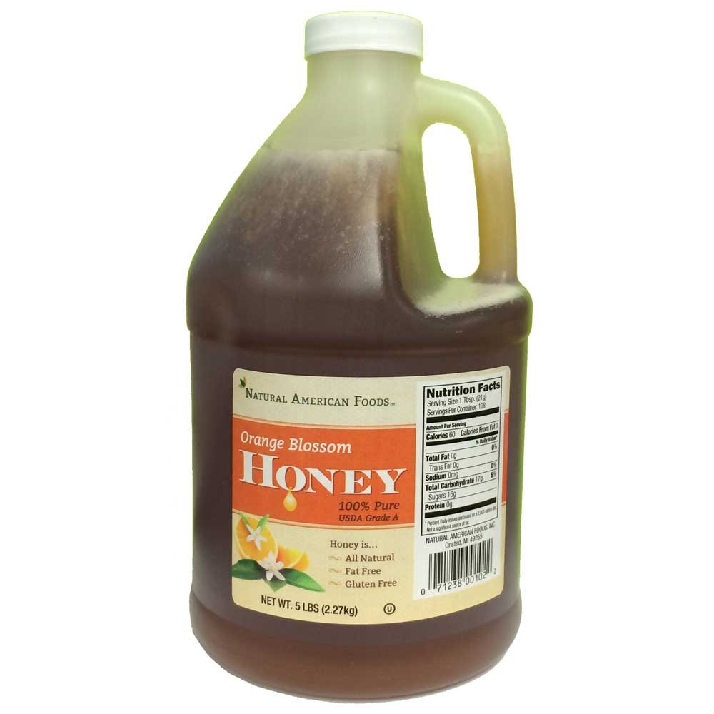 Natural American Foods Orange Blossom Honey, 5 Pound -- 6 per case.