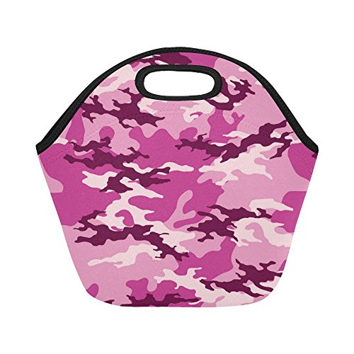InterestPrint Fashionable Camouflage Pattern Reusable Insulated Neoprene Lunch Tote Bag Cooler 11.93