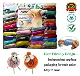 MOMODA 50 Colors Felting Wool Fibre Wool Yarn Roving for Needle Felting Hand Spinning DIY Craft Materials by
