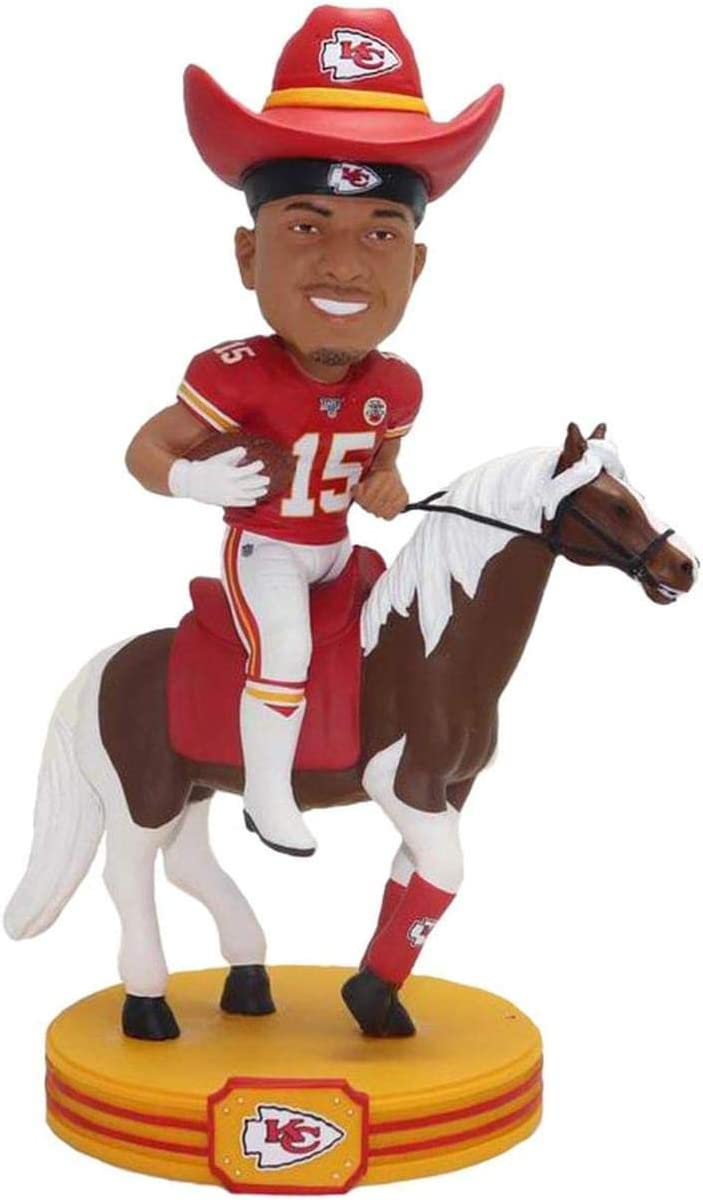 Patrick Mahomes w/Warpaint (Kansas City Chiefs) NFL 2019 Riding Bobblehead by Foco