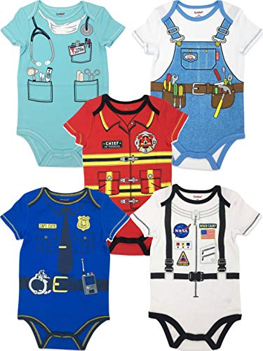 Funstuff Baby Boy Girl 5pk Bodysuits Fire Fighter Astronaut Doctor Police Handyman (6-9 Months) -