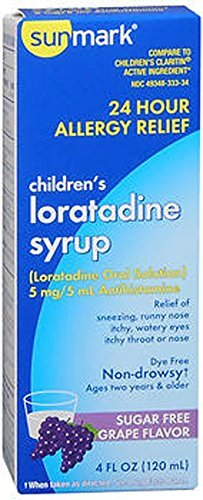Loratadine Syrup (Sunmark Children's Loratadine Syrup, Sugar Free, Grape Flavor - 4 oz by Sunmark)