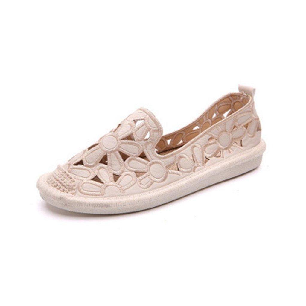 GilesJones Loafers Flat Women,Casual Embroidery Flower Hollow Low Heel Fisherman Shoes