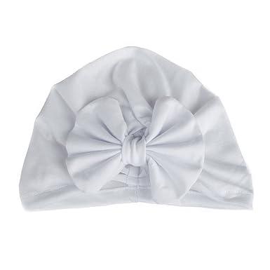 4ea57fb71d7 Nouveau-né Bonnet Bébé Fille Turban en Coton Crochet Papillons (Blanc)