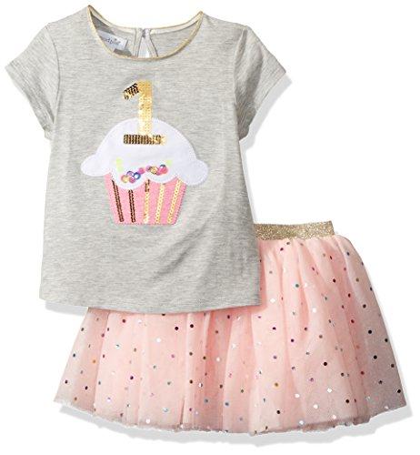 Mud Pie Baby Girls First Birthday Two Piece Set Tutu, Gray, 12-18 Months -