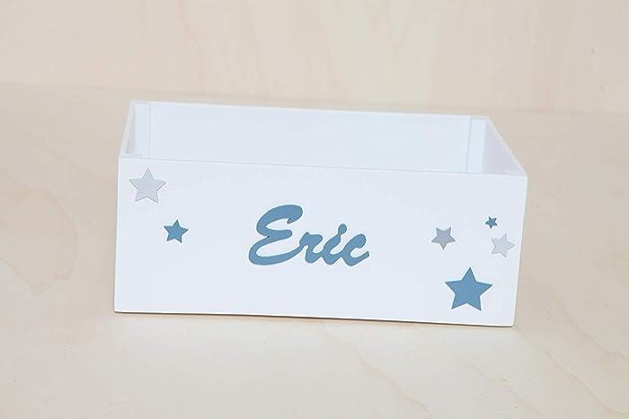 Caja madera con nombre personalizada para pañales, juguetes o cuentos bebes y niños hecho a