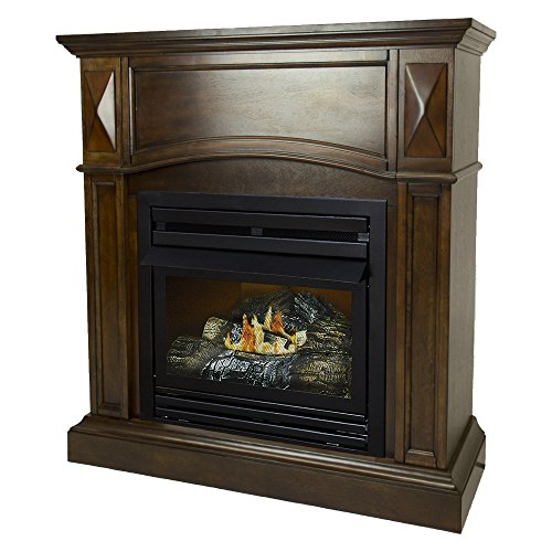 Pleasant Hearth 36 Compact Cherry 20,000 Liquid Propane Vent Free Fireplace System 20K BTU, Rich