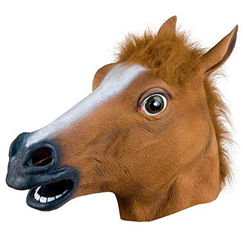 Spruce Rubber Horse Head Mask for Party Brown