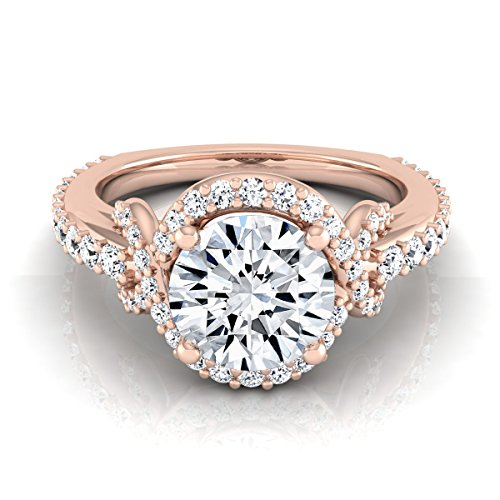(14K Rose Gold Pave Set 1 1/8 ct. t.w. Round Brilliant Cut Diamond Engagement Ring, Size 6.5)