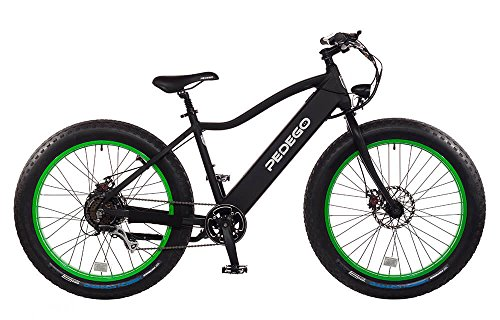 "Pedego Trail Tracker 26"" Fat Tire 2016 Black with Green Rims 48V 14Ah"