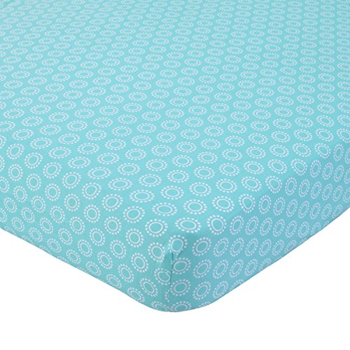 Carter's 100% Cotton Fitted Crib Sheet, Medallion, Aqua, White (Aqua Crib Sheet)