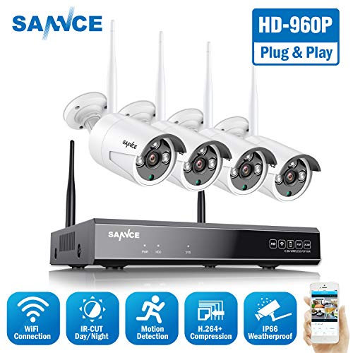 Update Expandable Wireless Security Camera System, SANNCE 1080P 8CH NVR and 4 pcs 960P IP66 Weatherproof Surveillance Cameras,Indoor Outdoor with 100FT Night Vision, NO HDD Included