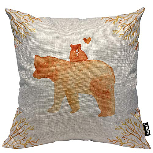 Mugod Mother Bear and Baby Bear Throw Pillow Cute Animals Floral Frame Love Heart Brown Cotton Linen Square Cushion Cover Standard Pillowcase 18x18 Inch for Home Decorative Bedroom/Living Room/Car]()
