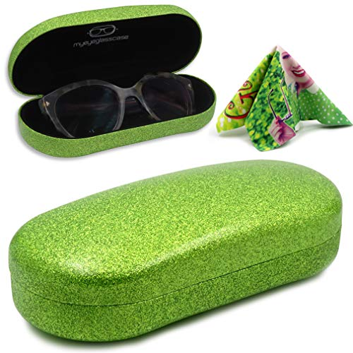 Hard Sunglasses Case Glitter Green Large Eyeglass case with Cleaning Cloth (AS87 Glitter Green) ()