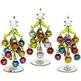 Beautiful, medium sized, glass Christmas Tree, decorated with coloured, glittered baubles. An ideal, fun, Christmas gift or decoration for the home, or desk top (1231).