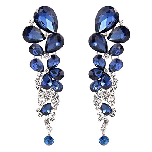 ustrian Crystal Gorgeous Tear Drops Wedding Dangle Earrings Navy Blue Silver-Tone ()