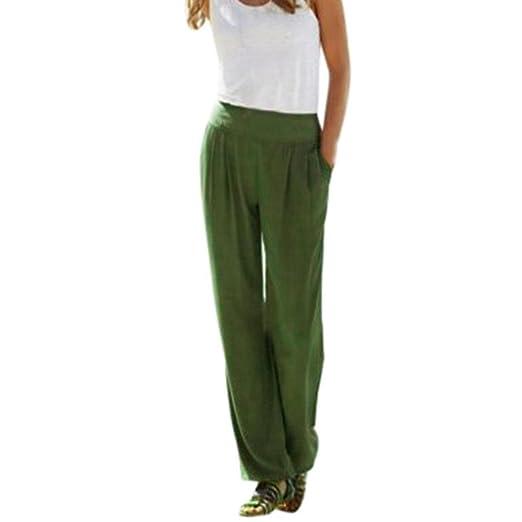 448b31254fa RAINED Sexy Waist Wide Leg Pants Women Casual Summer Long Loose Pants (Army  Green