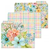 12 Sentiment Garden File Folders - Set of 12 (3 Designs) 1/3 Cut Staggered Tabs, Letter-Size Designed Folders