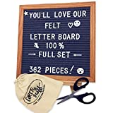 Letter Board Deluxe Set - 362 Changeable Letters, Gray Felt, With Solid Wooden Tripod Stand, Scissors, Storage Bag; Small 10x10 Grey Boards for Office Signs, Decorations, Trendy Messages